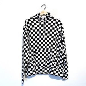 Unisex Black and White Checkerboard Hoodie